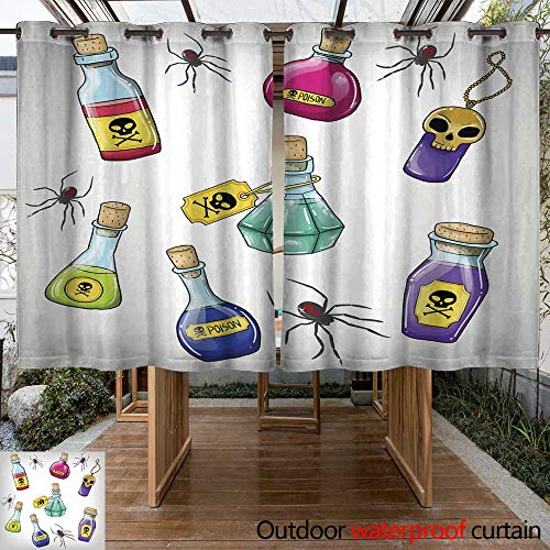 RenteriaDecor Home Patio Outdoor Curtain Vector Cute Hand Drawn Bottles with Poison for Halloween Party W55 x L72