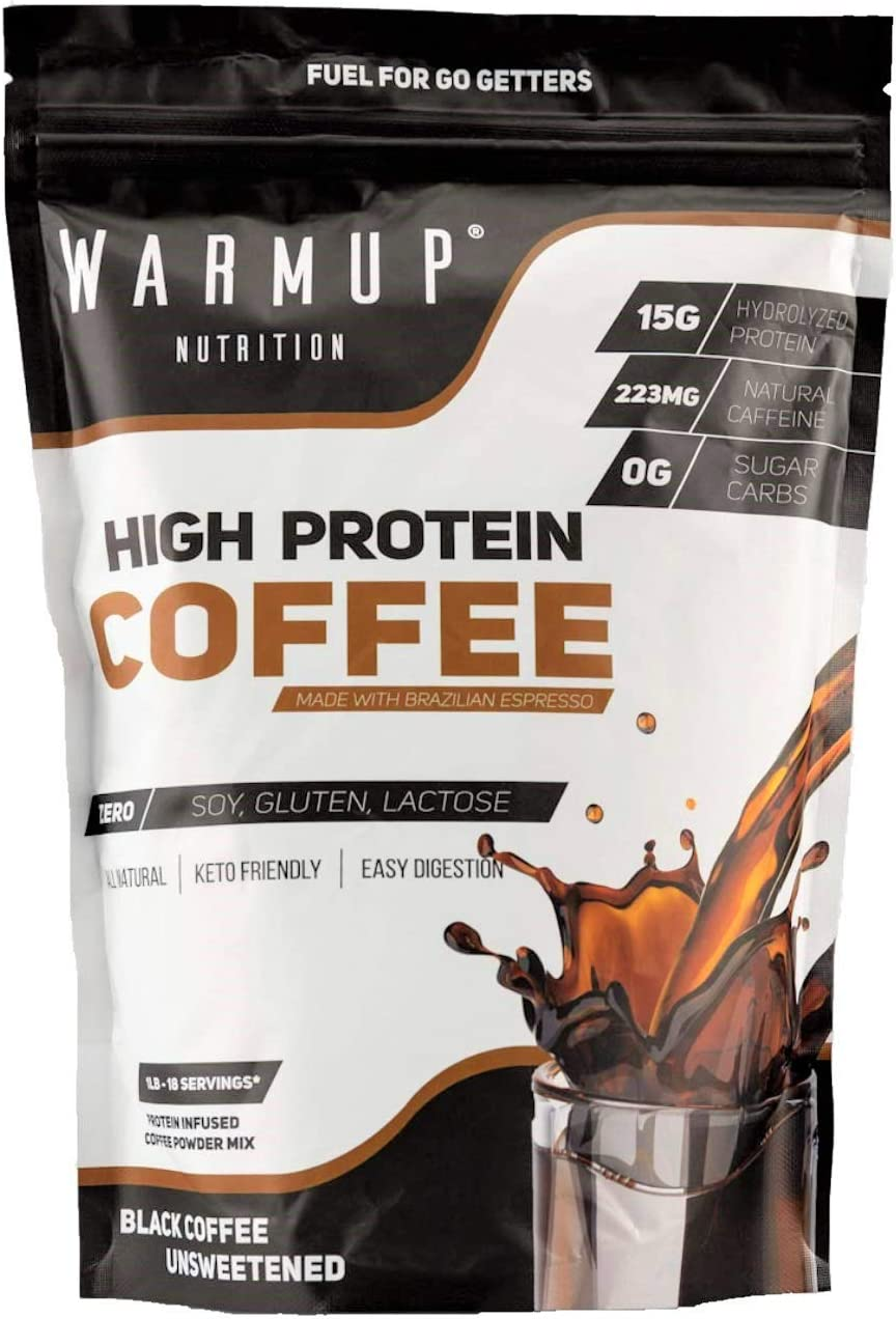 WarmUp All Natural High Protein Coffee Powder Made Iced, Hot, Or Blended Shake, Smoothie, Latte Or Frappe Powder Non GMO Espresso Caffeine Hydrolyzed Whey Protein Isolate Natural Pre Workout