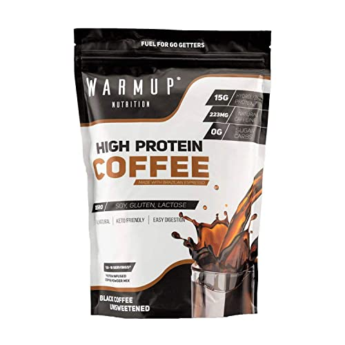 WarmUp All Natural High Protein Coffee Powder 0G Sugar Carbs 60 Calories Made Iced, Hot Or Blended Non GMO Espresso Hydrolyzed Whey Protein Isolate Caffeinated Energy Protein Unsweetened