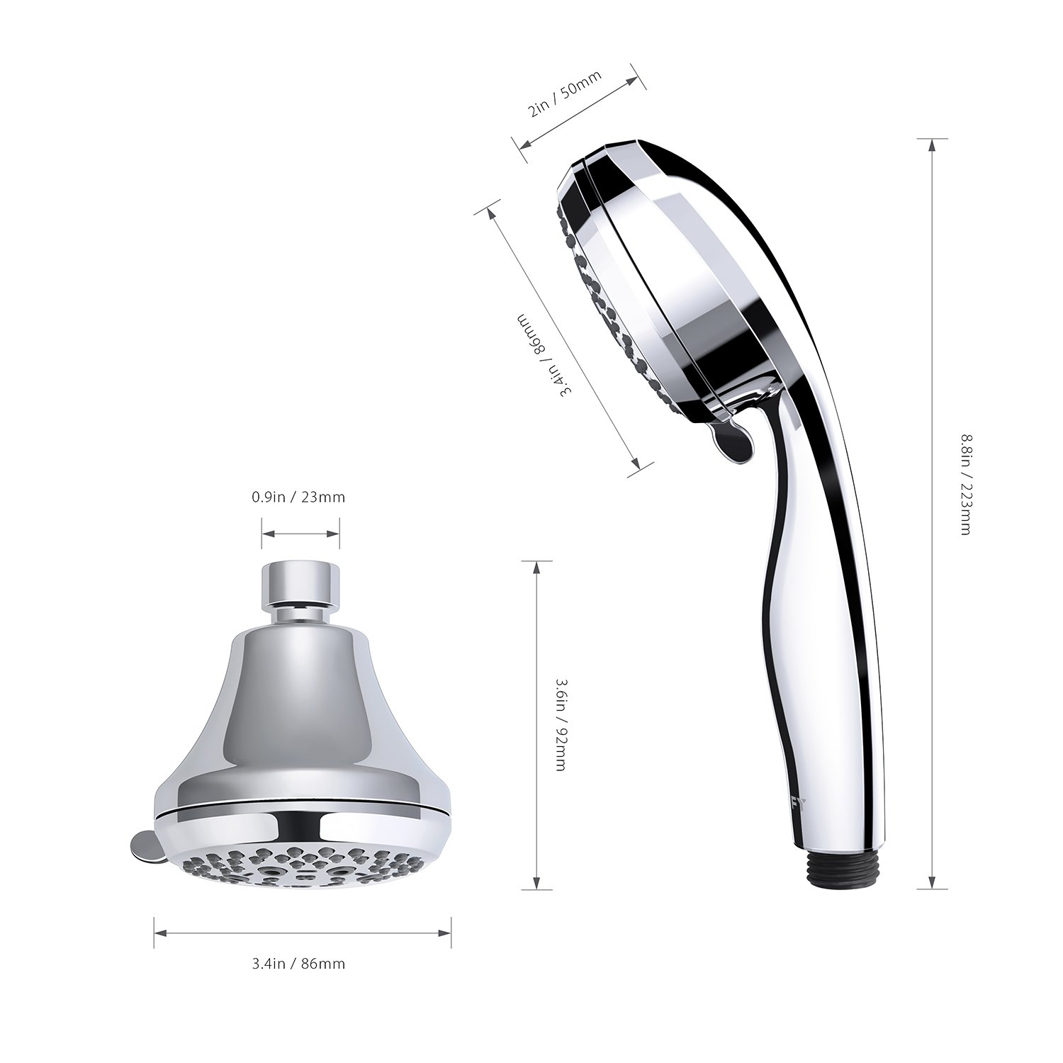 Clofy full-chrome shower head 28-setting handheld shower head and hand shower combo 3-way 2 in 1 shower-head with 5ft flexiable stainless hose