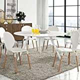"""Modway Lippa Artificial Marble Dining Table with Tripod Base, 60"""", White"""