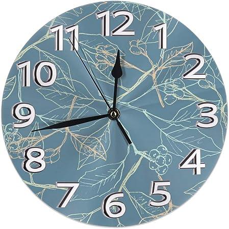 Image of DZCP-y Reloj de Pared Redondo Sin tictac Impresión de Hoja clásica Reloj de Arte de Pintura al óleo con Pilas