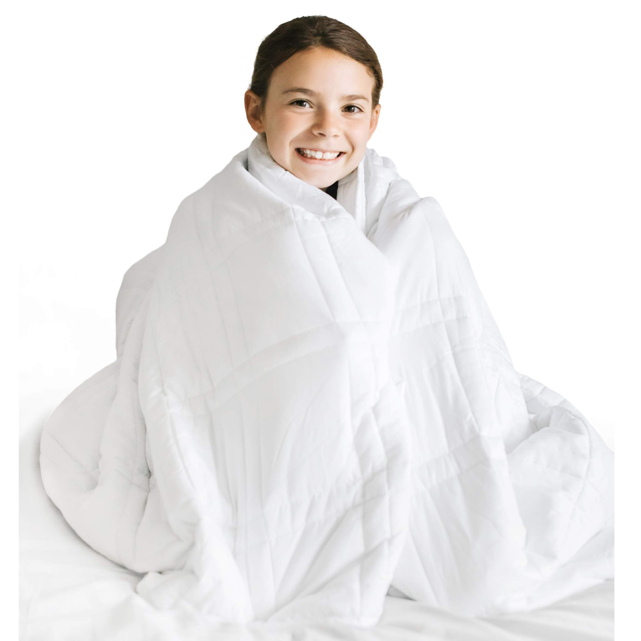 Nuzzie Cooling Weighted Blanket - 8 lbs - Twin/Full - 41x61 - Kids or Teen - 100% Soft Cotton - Hypoallergenic Glass Beads - Durable Double Stitching - Designed in USA by Nuzzie