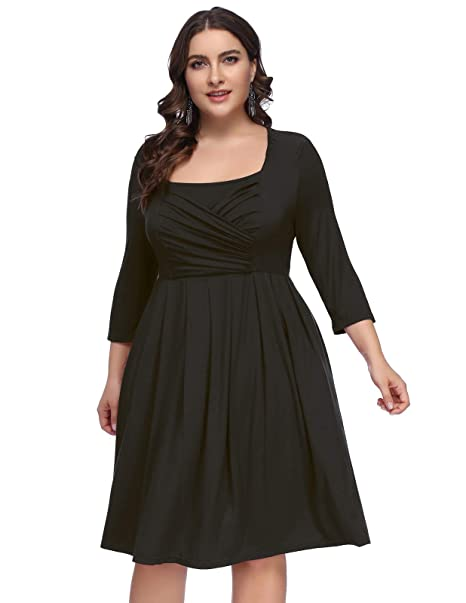 Hanna Nikole Women Stretchy 3/4 Sleeve Plus Size A-Line Pleated Midi Dress