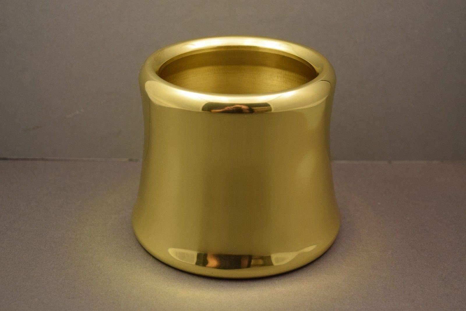 Single 4'' Diameter Church Paschal Candle Follower - Polished Brass
