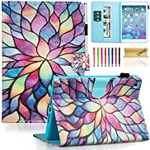 Dteck iPad Mini 1/2/3 Case - Slim Fit [Stylus Slot] Folio Stand PU Leather Smart Wallet Case with Auto Wake/Sleep Magnetic Cover for Apple iPad Mini 3 / iPad Mini 2 / iPad Mini 1, Colorful Lotus
