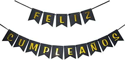 INNORU Feliz Cumpleaños Banner - Happy Birthday Banner Black and Gold Birthday Party Decoration Supplies