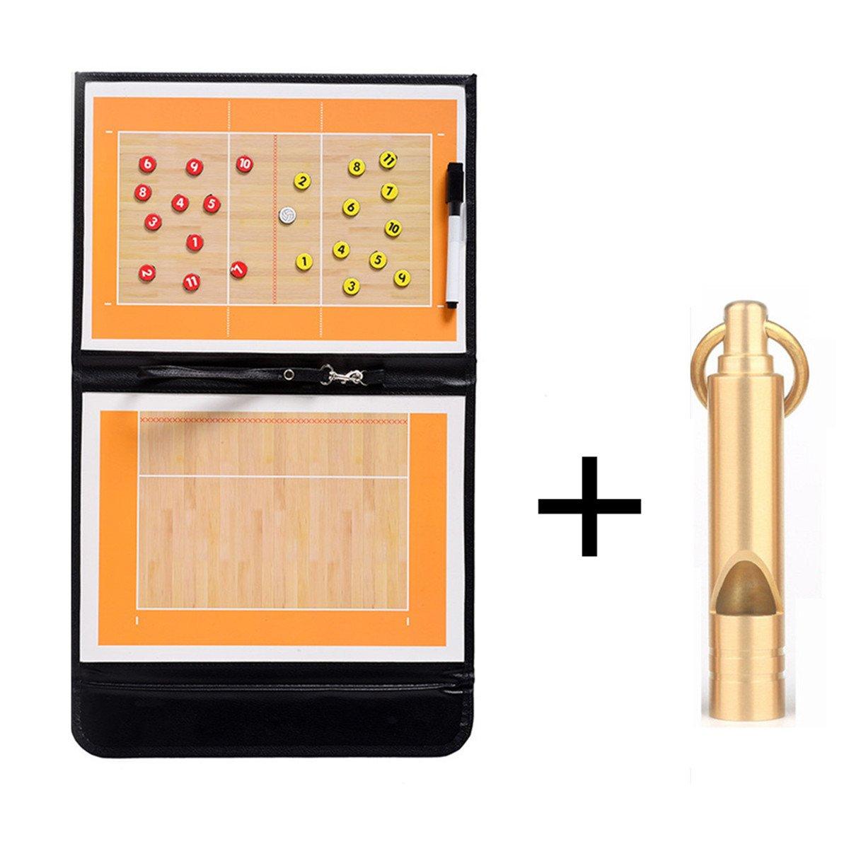 Hnjzx Tactical Coach lavagna magnetica + Premium fischietto di emergenza–-- perfetto e pieghevole in pelle per/da calcio basket pallavolo mot-1, Basketball