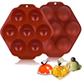 Geahod Silicone Molds, 7 Holes Semi Sphere Baking Mold 2 Pack, Round Chocolate Mold for Making Cake, Chocolate, Dome Mousse,