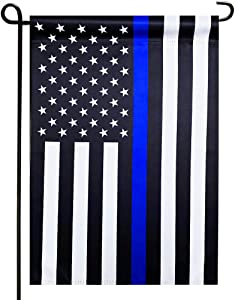 Thin Blue Line American Police Garden Flag- Double Sided Blackout Fabric Blue Stripe US Garden Flags- Police USA Garden Yard Flags Banner 12.5 X 18.5 Inch