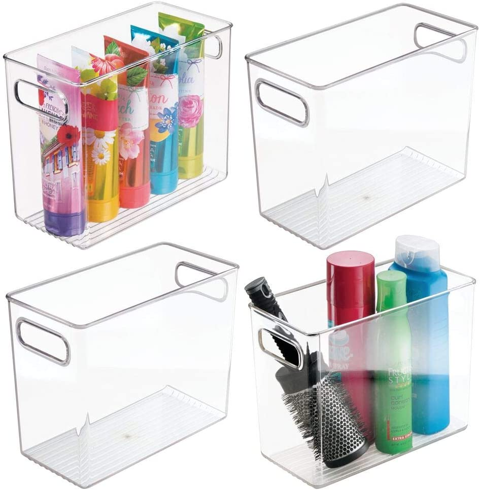 Amazon Com Mdesign Slim Plastic Storage Container Bin With Handles Bathroom Cabinet Organizer For Toiletries Makeup Shampoo Conditioner Face Scrubbers Loofahs Bath Salts 5 Wide 4 Pack Clear Home Kitchen