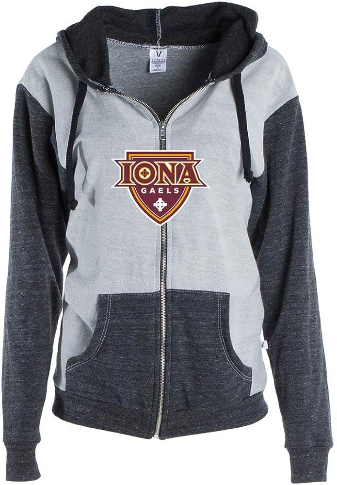 NCAA Iona College Gaels PPION01 Womens Color Block Zip-Up Hoodie