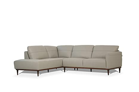 Pleasant Amazon Com Acme Furniture Tampa Sectional Sofa Pearl Gray Lamtechconsult Wood Chair Design Ideas Lamtechconsultcom