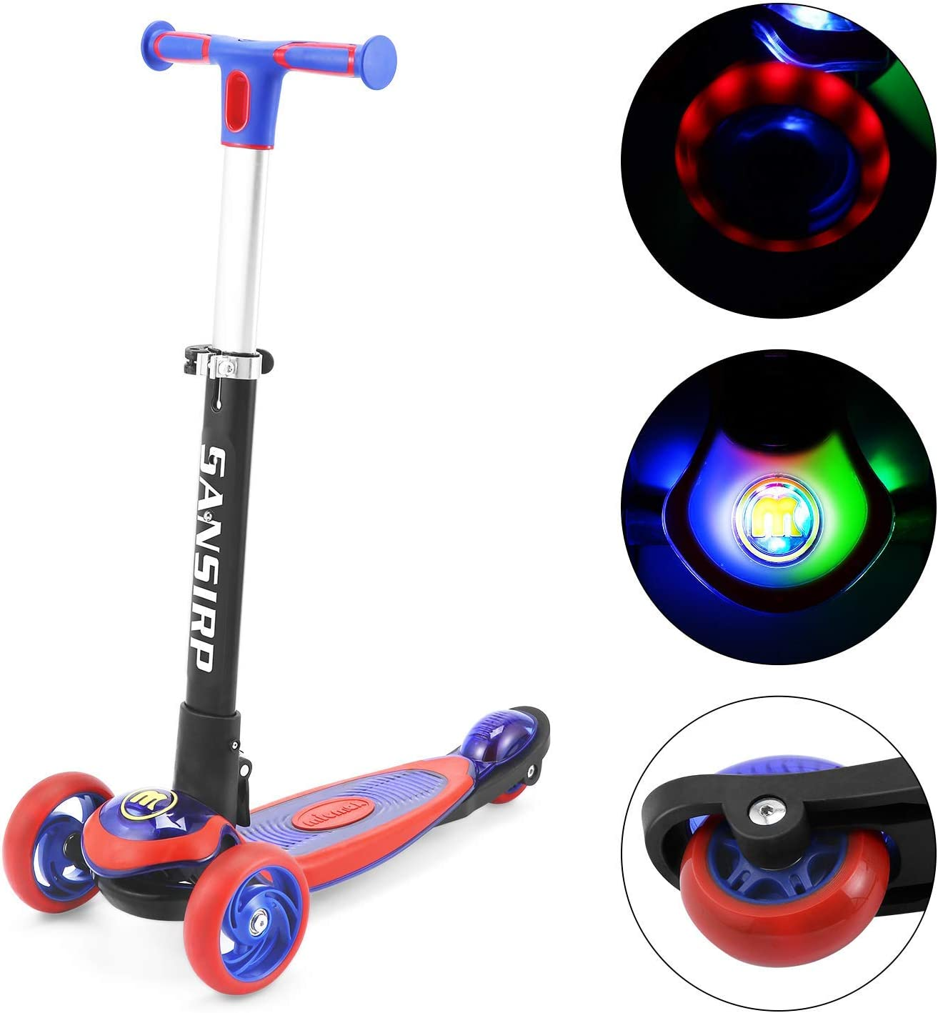 4 Adjustable Height Featuring Quick-Release Folding System 2 Wheels with PU LED Light Kids Kick Scooter Scooters for Kids 6 Years and up Lean to Steer Design