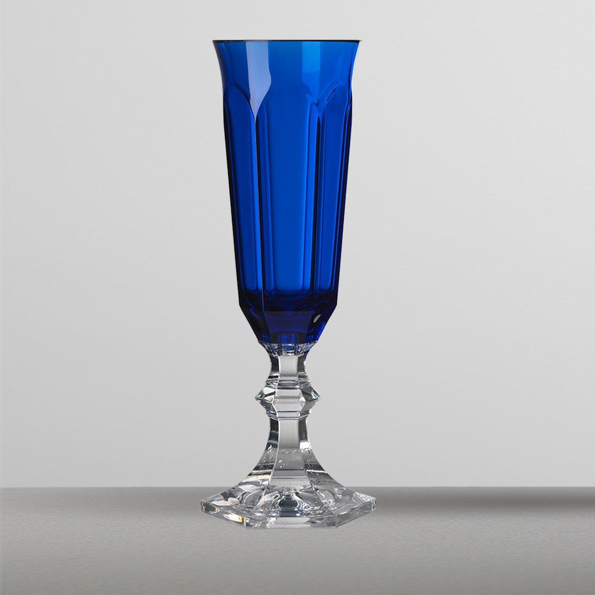Mario Luca Giustiセット6 Dolce Vitaフルートガラスブルー B01MYLD6ZI