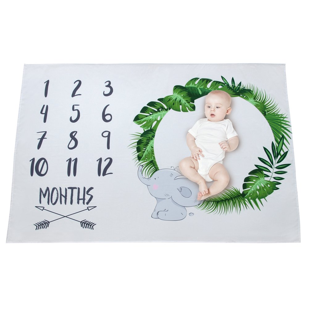 MHJY Monthly Milestone Blanket for Baby Photography Props Milestone Mats Growth Blanket Newborn Swaddling Blanket Photo Shoots Backdrop-New Mom Baby Shower Gifts