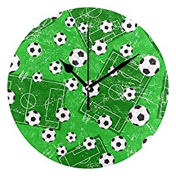 Anmarco Football Gate and Soccer Sports Ground Wall Clock, 10 Inch Silent Non Ticking Quartz Battery Operated Round Wall Clocks for Home/Office/School Clock