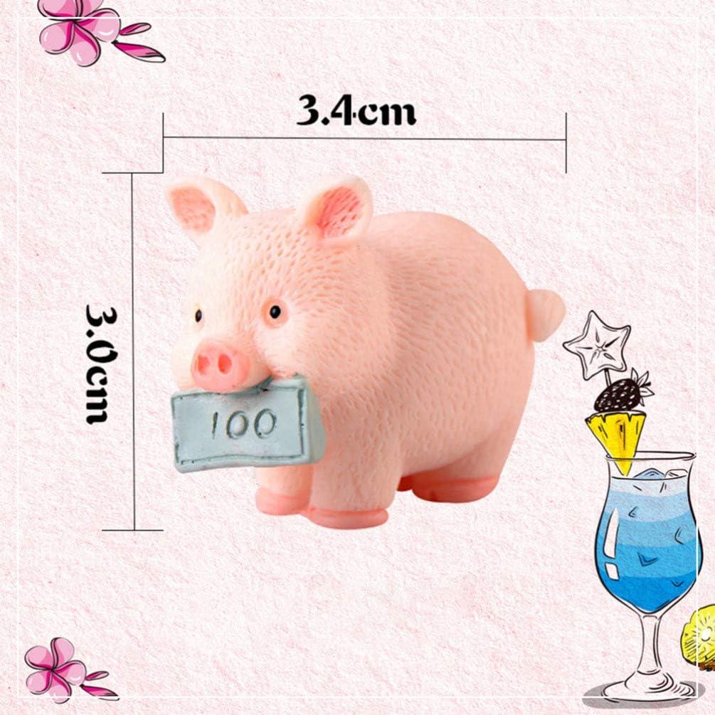 VORCOOL 5 figuras en miniatura de cerdo de color rosa jard/ín juguete para manualidades decoraci/ón de pasteles para decoraci/ón de cuento de hadas decoraci/ón de decoraci/ón del hogar
