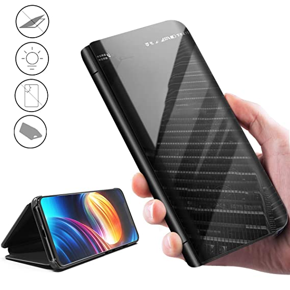 best service d17ce 27488 Plating Mirror Case for Huawei P30,[Smart Clear View][Luxury  Kickstand][Multiple Full Protection] Electroplate Phone Stand Flip with  Back Leather&PC ...