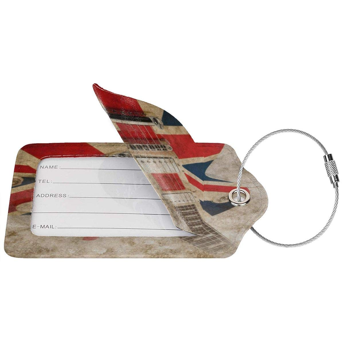 Vintage Guitar Music British Flag Leather Luggage Tags Personalized Address Card With Privacy Flap
