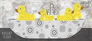 Buyartforless Squeaky Clean Duck Bath 18x8 Art Print Poster Decor by Beth Albert