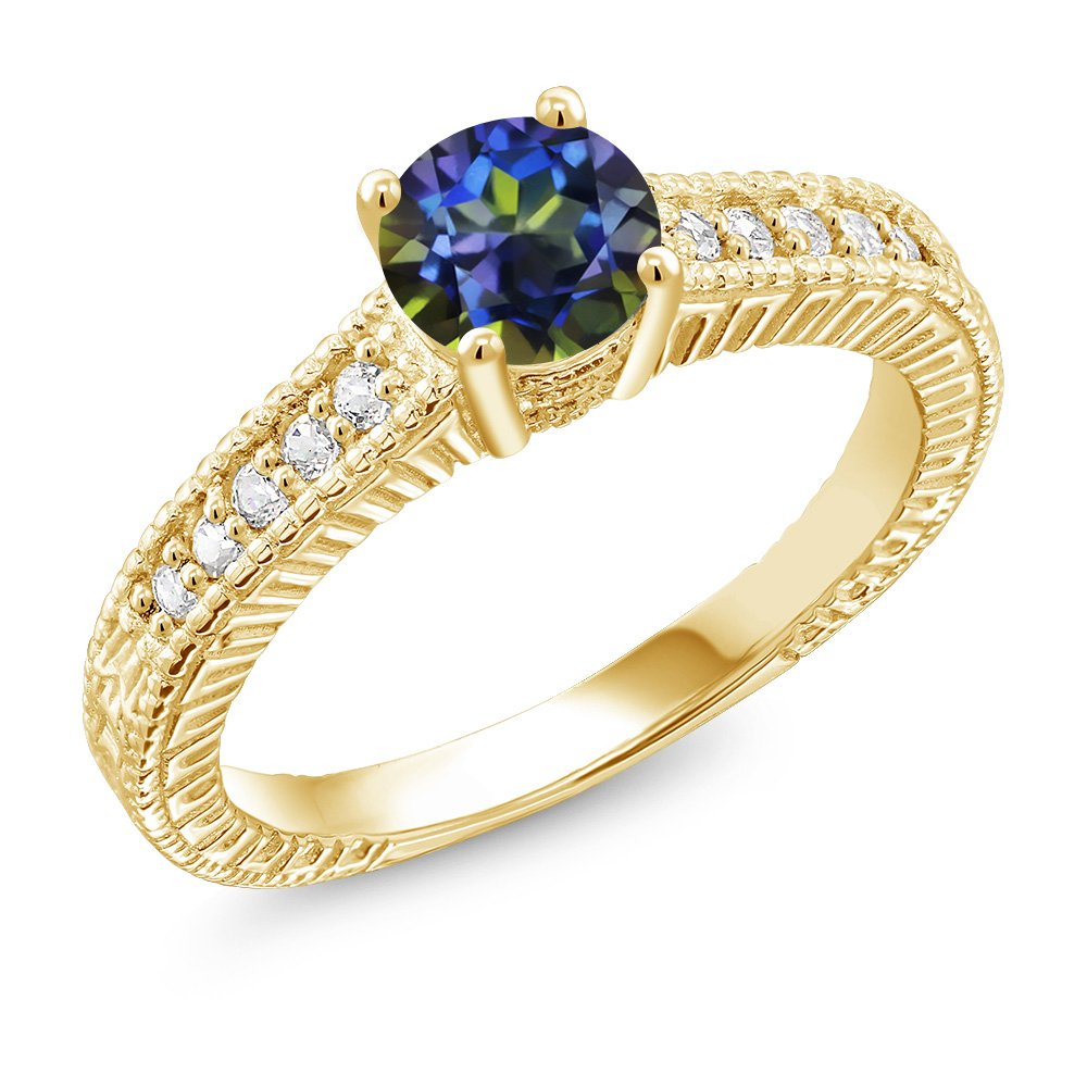 Gem Stone King 1.15 Ct Blue Mystic Topaz Created Sapphire 18K Yellow Gold Plated Silver Ring Available 5,6,7,8,9