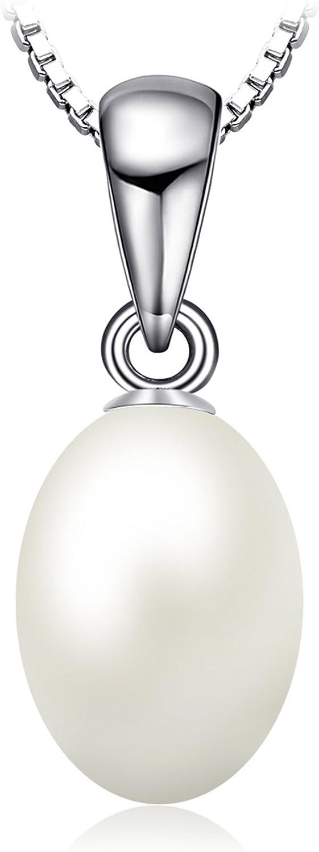 JewelryPalace Colgante de perla blanca cultivada de 8-10 mm en agua dulce Collar Plata de ley 925 cadena de caja 45cm