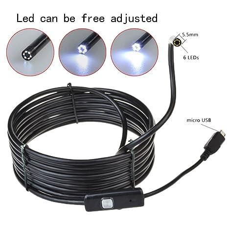 UEB 6 LED 1.5M impermeable 5.5mm lente de la cámara endoscopio de Inspección para