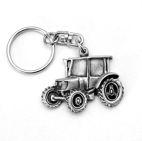 Tractor llavero (llavero) en inglés Peltre, Hecho a mano ...