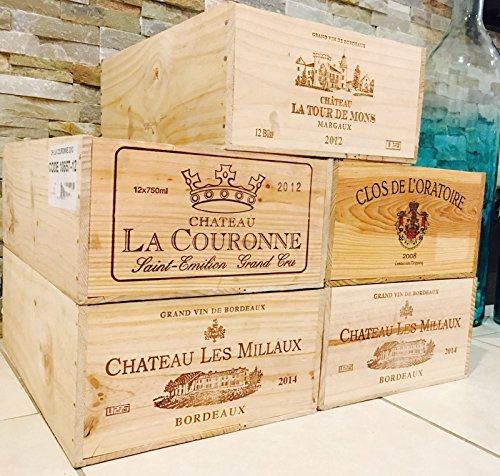 5 French Original Twelve count Bottles Wine Crates (Ends Crate Wine)