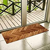 Ustide Wood Print Kitchen Runner Nonslip Rubber Mat Durable Waterproof Floor Rug Bathroom Area Rug 1.7'X4'
