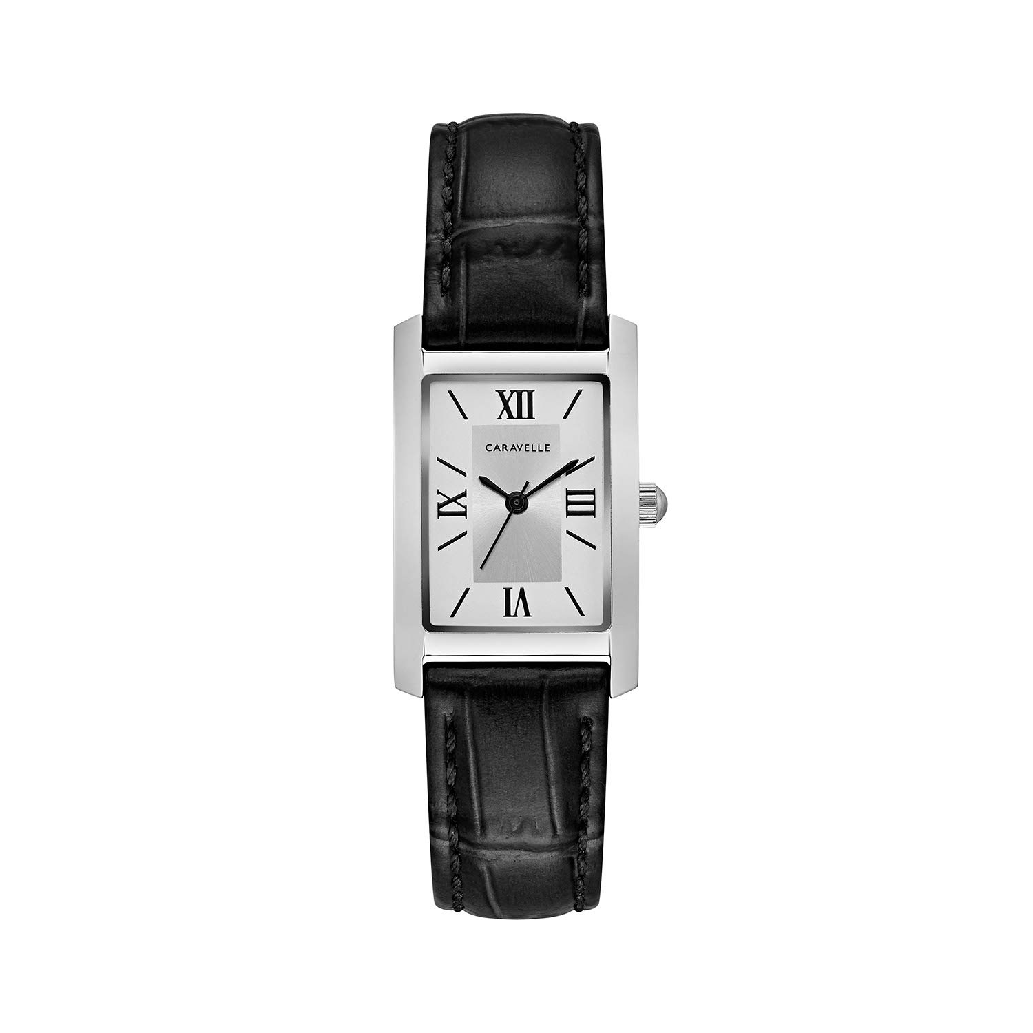 Caravelle Designed by Bulova Women s Stainless Steel Quartz Watch with Leather Calfskin Strap, Black, 16 Model 43L202