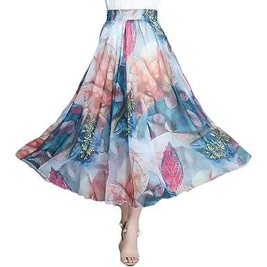 Faldas Largas Mujer Verano Vintage Moda Gasa Flores Estampadas ...