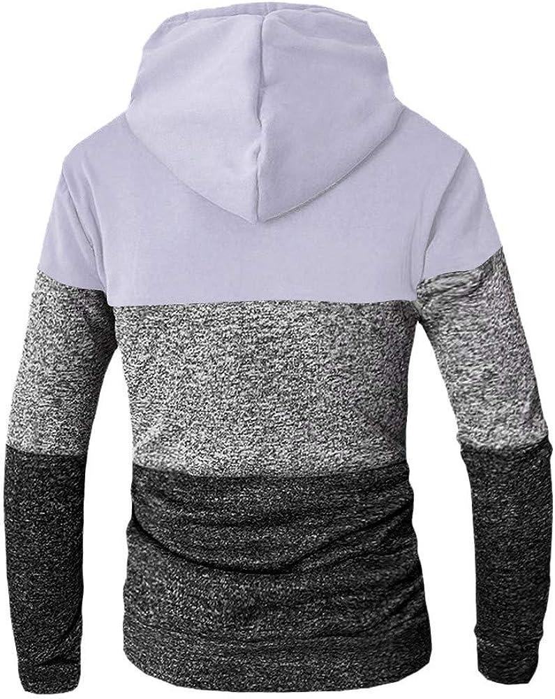 Comfortable Drawstring Long Sleeve Kangaroo Pocket Lightweight Pullover Sweatshirt Mens Patchwork Hoodie