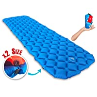 Lightweight Sleeping Pad, Connectable For 2 or 1 Person, Self Inflating Mat for Camping, Backpacking, Hiking: Compact Air Mattress, Inflatable Insulated, Ultralight Air Mattress for Travel