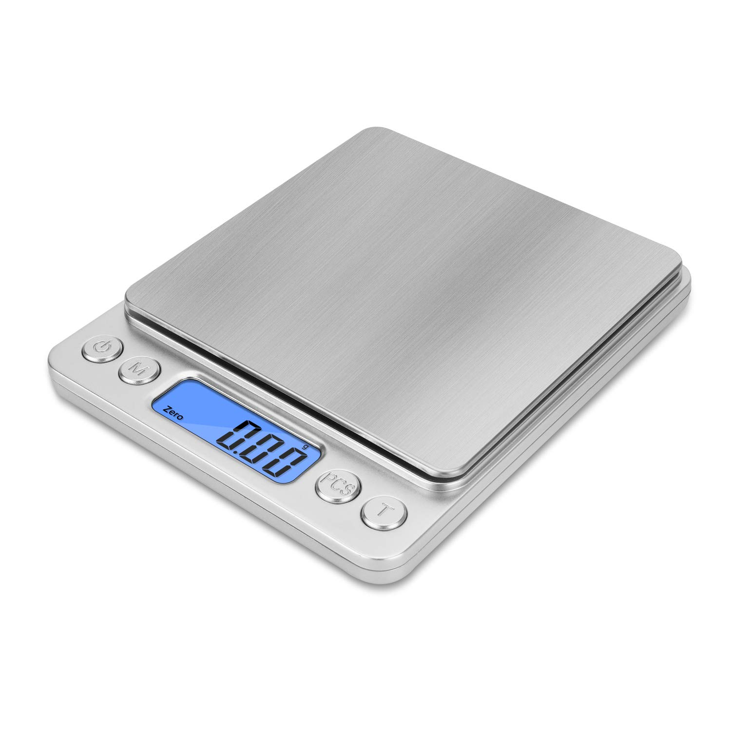 NEXT-SHINE Digital Kitchen Scale 500 x 0.01 Gram, Pocket Size with PCS Tare Switch Weighing Units Function, Stainless Steel Platform P225