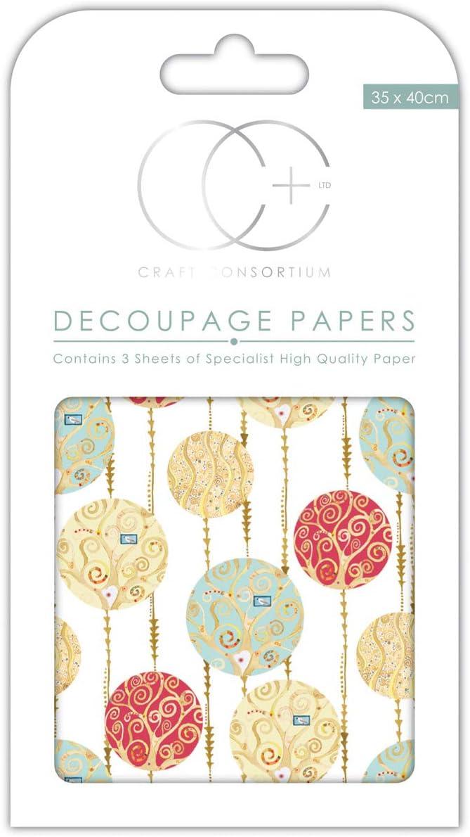 Craft Consortium Wht Bauble-Decoupage Paper 3//Pk Acrylic 21.59x11.68x0.22 cm Multicolour