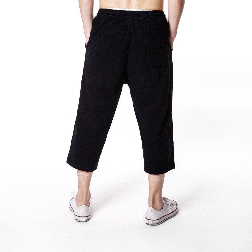 VPASS Pantalones Hombre,Cintura Ajustable por Cordón y Bolsillos ...