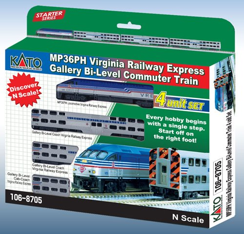 Kato USA Model Train Products MPI MP36PH Virginia Railway Express Gallery Bi-Level 4-Unit Set (Electrical Train compare prices)