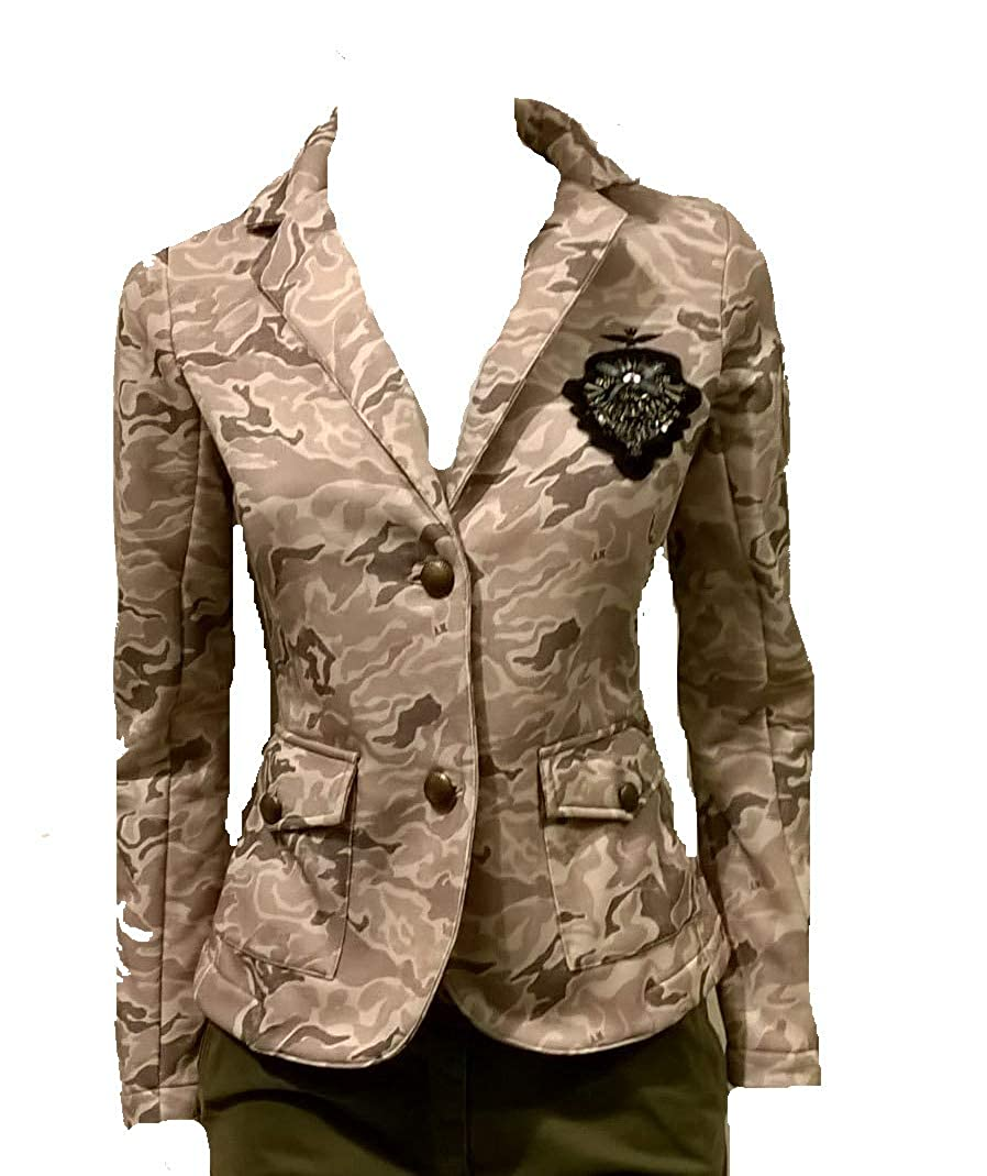 Dettagli su GIACCA blazer AF355D FELPA AERONAUTICA MILITARE DONNA camouflage beige