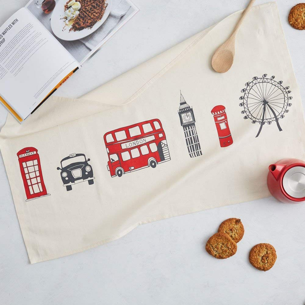 London Skyline Tea Towel/Kitchen Towel - 100% Cotton London Souvenir - Made in Britain