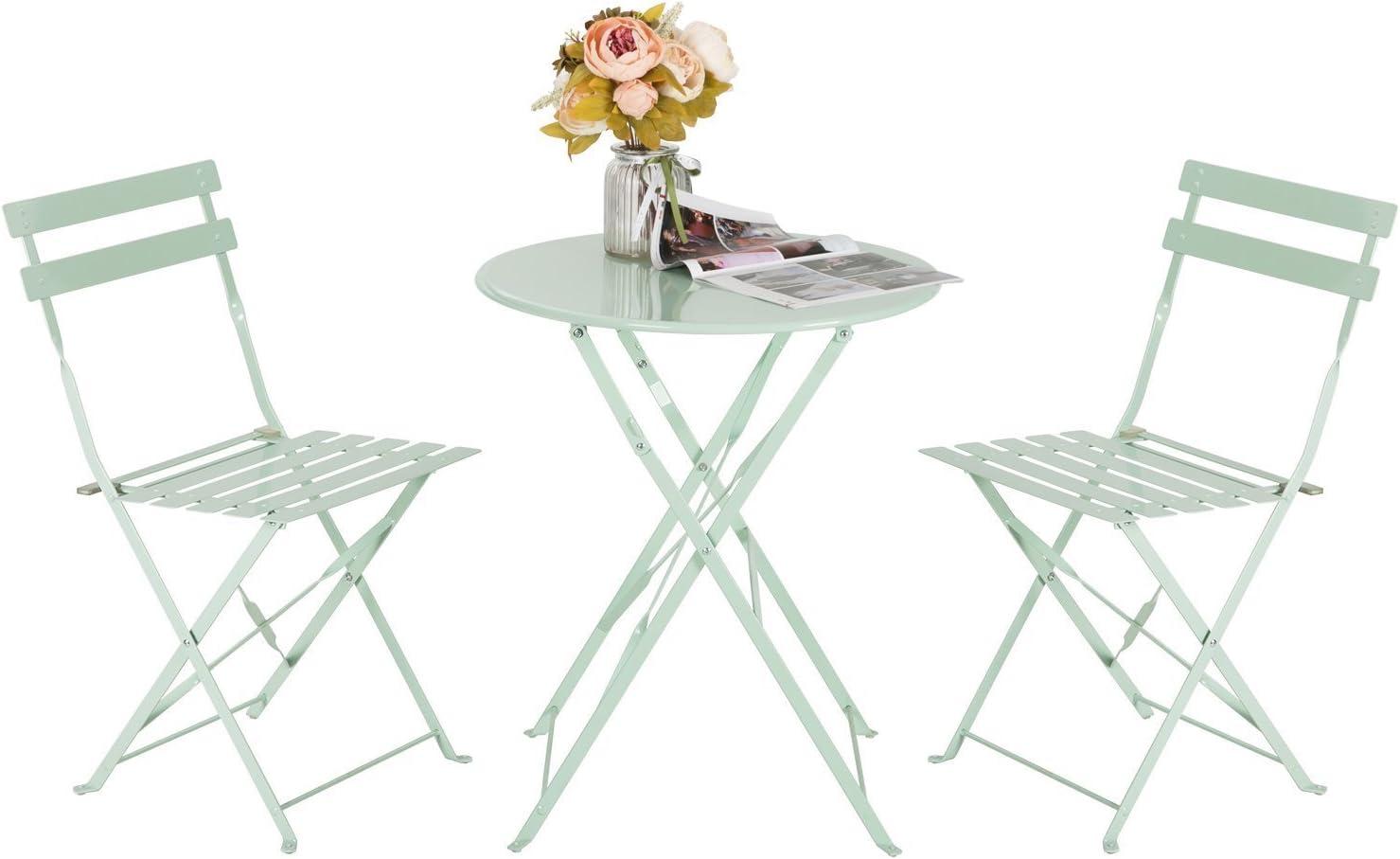 HollyHOME - Juego de Muebles de balcón Plegables de Acero para ...