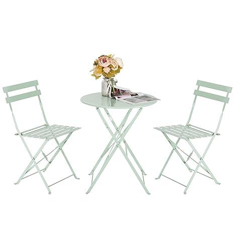 HollyHOME - Juego de Muebles de balcón Plegables de Acero para Exteriores, 3 Piezas, Mesa y sillas Plegables, Color Verde Claro
