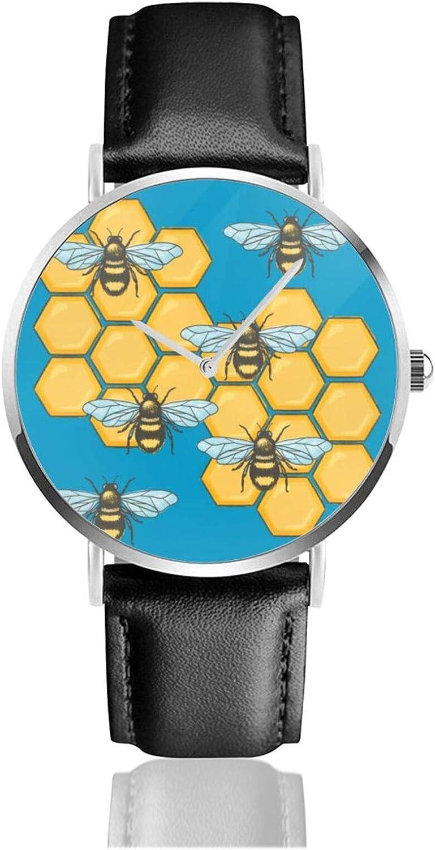 Relojes Anolog Negocio Cuarzo Cuero de PU Amable Relojes de Pulsera Wrist Watches Abejas