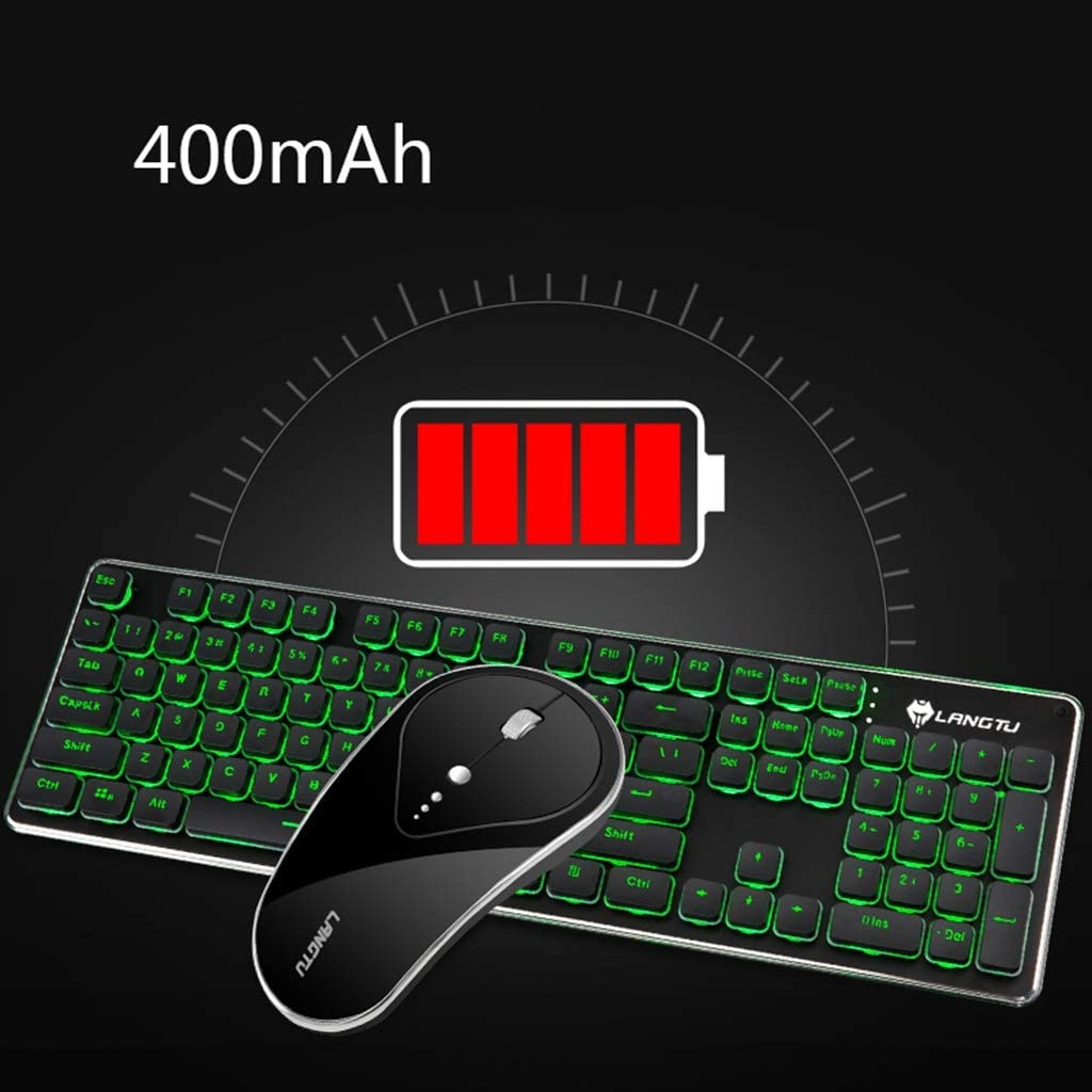 Rechargeable Wireless Keyboard and Mouse Set Esports Game Lighting Computer Smart Device Chocolate Keycaps Illuminated Membrane Keyboard