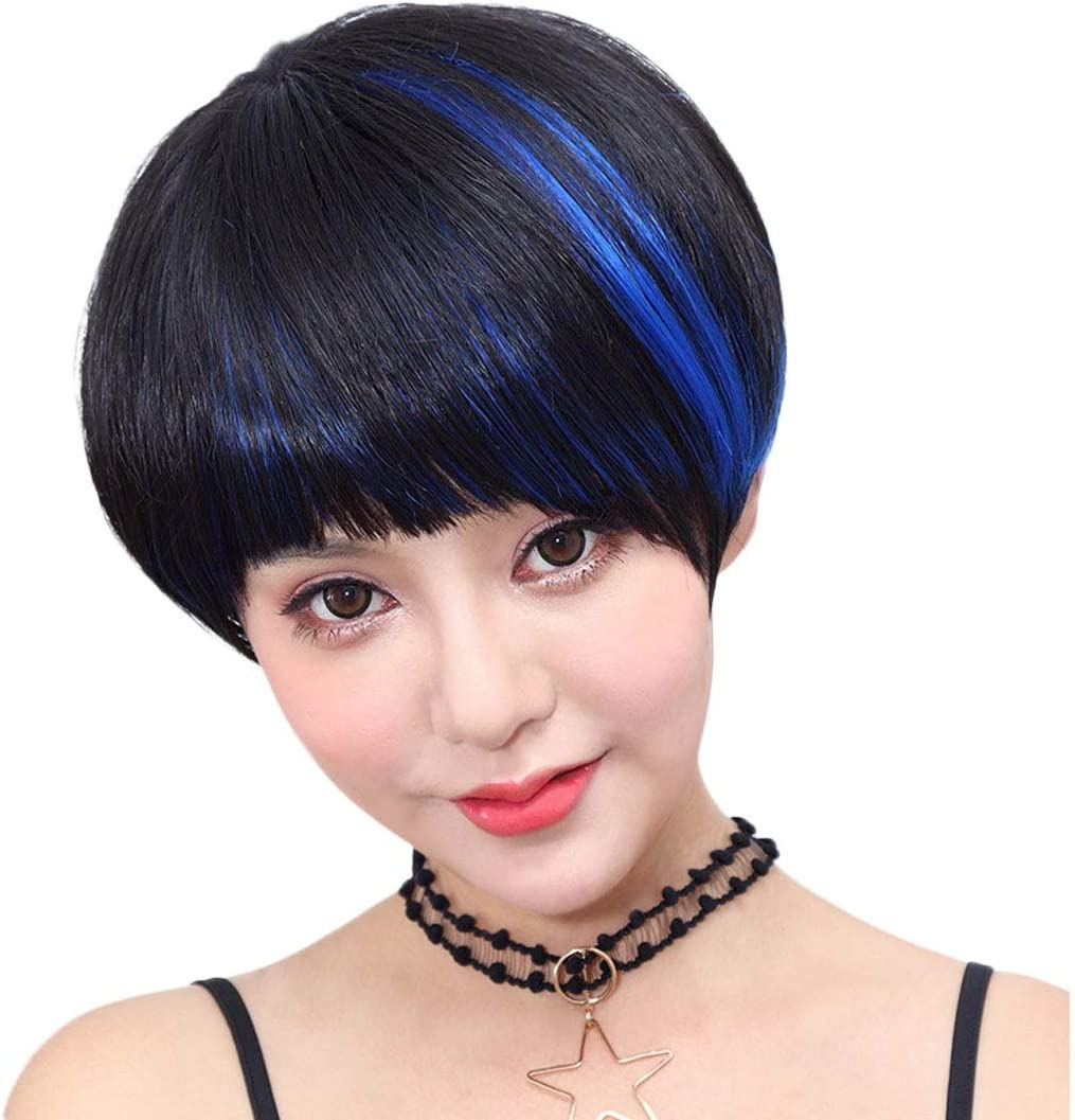 Xinqing Silver Star Wig Short Hair Female Handsome Inside Buckle Student Sweet And Lovely High Quality Wig Color Black Highlight Blue Amazon Co Uk Beauty