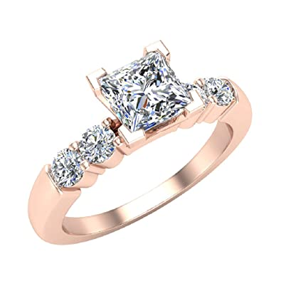 22f5b7f646 Princess Cut Diamond Engagement Ring Accented Five Stone Setting 0.88 carat  total weight 14K Rose Gold