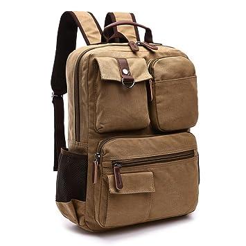 536ded3c92ab2 Jxth Lässige Tasche mit großem Fach Vintage Männer Frauen Rucksack Daypack  Wasserdicht Reißverschluss Leinwand Wandern