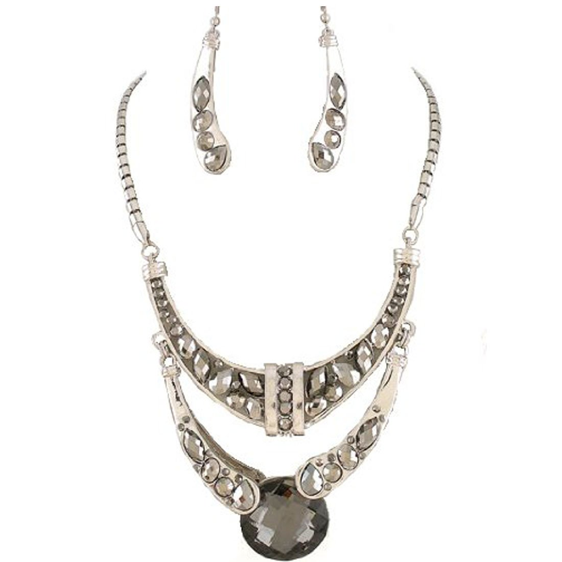 Fashion Jewelry ~ Silvertone Black Crystals Pendant Bold Statement Necklace and Earring Set