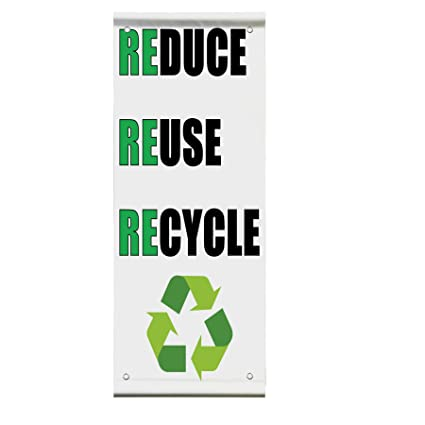 Amazon Reduce Reuse Recycle Double Sided Vertical Pole Banner